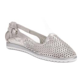 Leather VINCEZA ballerinas grey 3