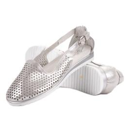 Leather VINCEZA ballerinas grey 5