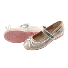 Ballerina shoes with American Club GC18 bow grey pink 4