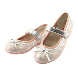 Ballerina shoes with American Club GC18 bow grey pink 3