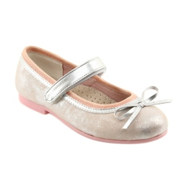 Ballerina shoes with American Club GC18 bow grey pink 1