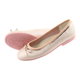 Ballerinas with a bow pink pearl American Club GC14 / 19 golden 4