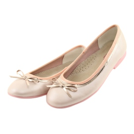 Ballerinas with a bow pink pearl American Club GC14 / 19 golden 3