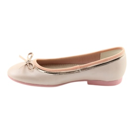 Ballerinas with a bow pink pearl American Club GC14 / 19 golden 2
