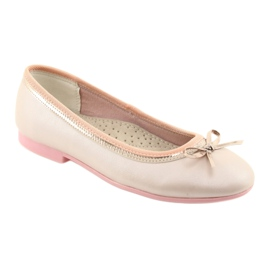 Ballerinas with a bow pink pearl American Club GC14 / 19 golden 1