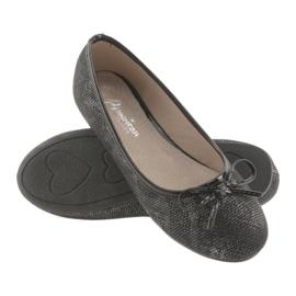 American Club LU17 black ballerinas for girls grey 4