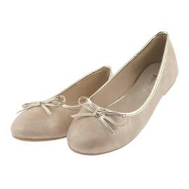 Ballerinas girls' American Club LU17 beige golden 3