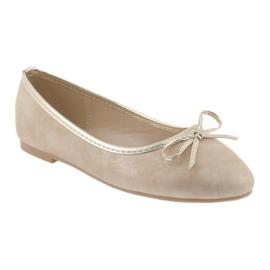 Ballerinas girls' American Club LU17 beige golden 1