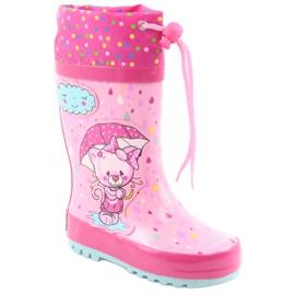 American Club American children's rain boots kitten blue pink 1