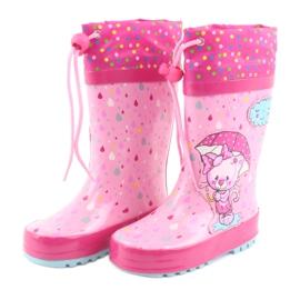 American Club American children's rain boots kitten blue pink 3