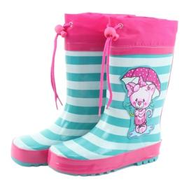 American Club American children's rain boots Kitten pink green 3