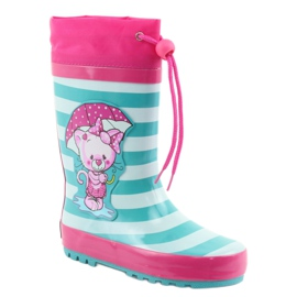 American Club American children's rain boots Kitten pink green 1