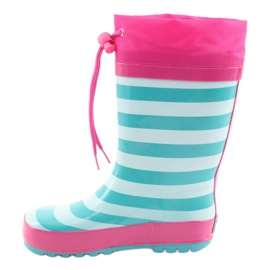 American Club American children's rain boots Kitten pink green 2