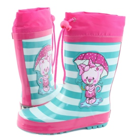 American Club American children's rain boots Kitten pink green 4