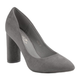 Small Swan Suede Pumps On A Bar grey 1