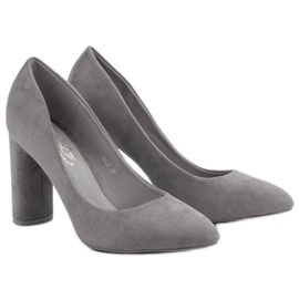 Small Swan Suede Pumps On A Bar grey 4