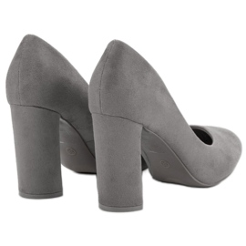 Small Swan Suede Pumps On A Bar grey 3