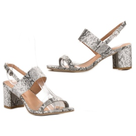 Ideal Shoes Fashionable Women's Sandals grey 5