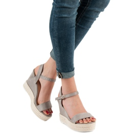 Ideal Shoes Stylish Sandals on Wedge grey 5