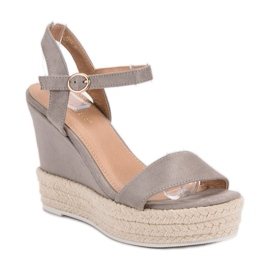 Ideal Shoes Stylish Sandals on Wedge grey 4