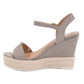 Ideal Shoes Stylish Sandals on Wedge grey 1