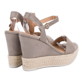 Ideal Shoes Stylish Sandals on Wedge grey 3