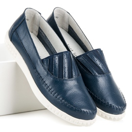 Slip-on Leather Loafers from VINCEZA blue 5