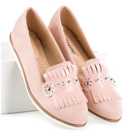 Seastar Suede Loafers With Fringes pink 1