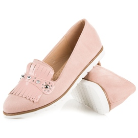 Seastar Suede Loafers With Fringes pink 2