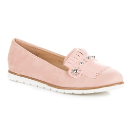 Seastar Suede Loafers With Fringes pink 3