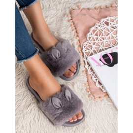 Vinceza Gray Slippers With Fur grey 1