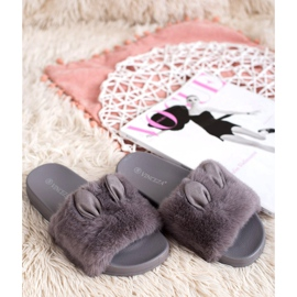 Vinceza Gray Slippers With Fur grey 6