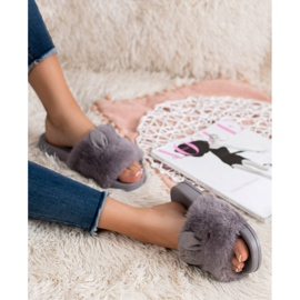 Vinceza Gray Slippers With Fur grey 2