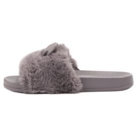 Vinceza Gray Slippers With Fur grey 3
