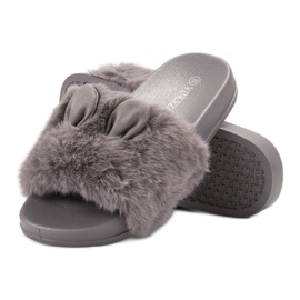 Vinceza Gray Slippers With Fur grey 4