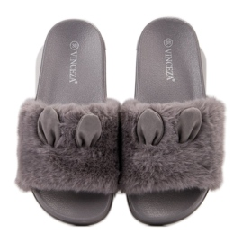 Vinceza Gray Slippers With Fur grey 5