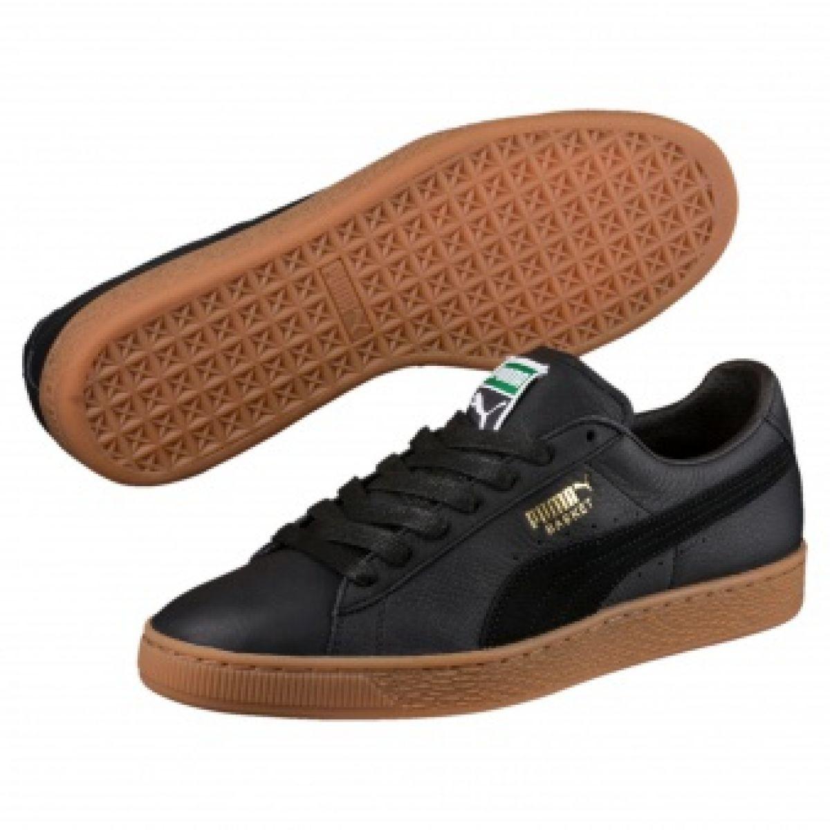sports shoes 74b18 9cd56 Black Puma Basket Classic Gum Deluxe M 365366 02 shoes