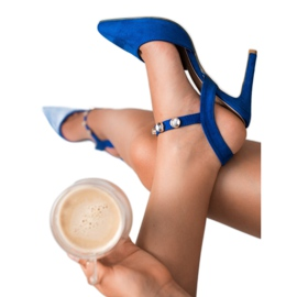 Kylie Stilettos with an exposed heel blue 1