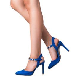 Kylie Stilettos with an exposed heel blue 4