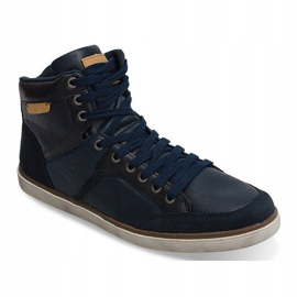 High Sneakers Natural Leather XF117 Navy 2