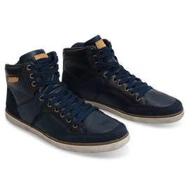 High Sneakers Natural Leather XF117 Navy 3