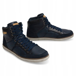 High Sneakers Natural Leather XF117 Navy 4