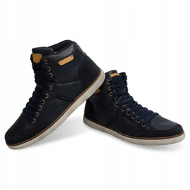 High Sneakers Natural Leather XF117 Navy 1