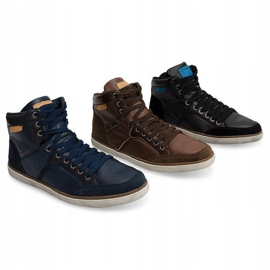 High Sneakers Natural Leather XF117 Navy 5