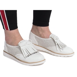 White openwork loafers with Pamole fringes grey 2