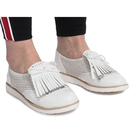 White openwork loafers with Pamole fringes grey 1