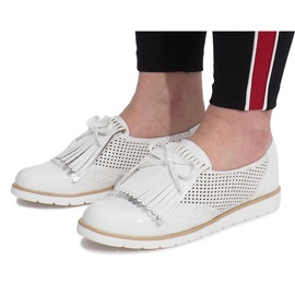 White openwork loafers with Pamole fringes grey 3