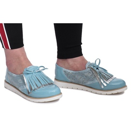 Blue openwork loafers with Pamole fringes grey 1