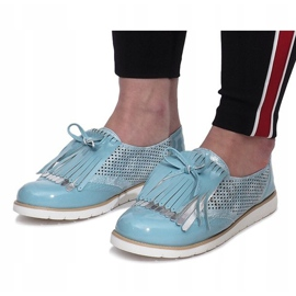 Blue openwork loafers with Pamole fringes grey 2