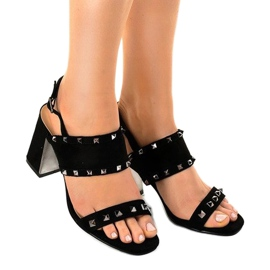 Black suede sandals 6912-GL 1